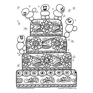 Cute Frozen Snowmen on Birthday Cake