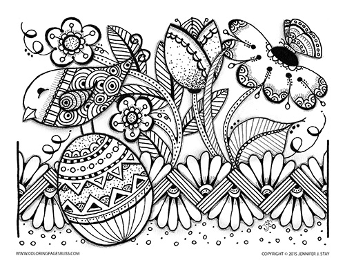 Easter Egg Flower Bird Coloring Page