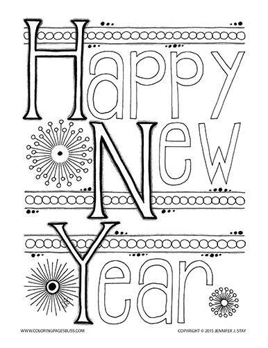 Free Happy New Year Coloring Page