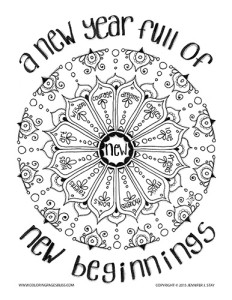 Downloadable Coloring Page New Year Beginnings