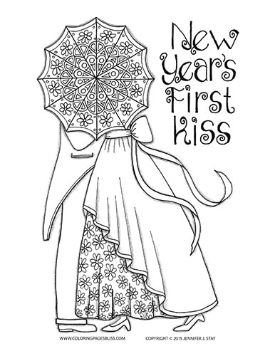 Printable New Years Coloring Page for Grown-Ups