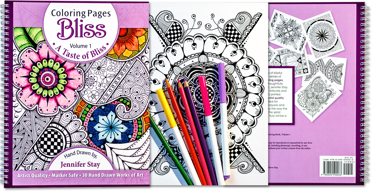 Coloring book for adults a taste of bliss for Coloring pages bliss