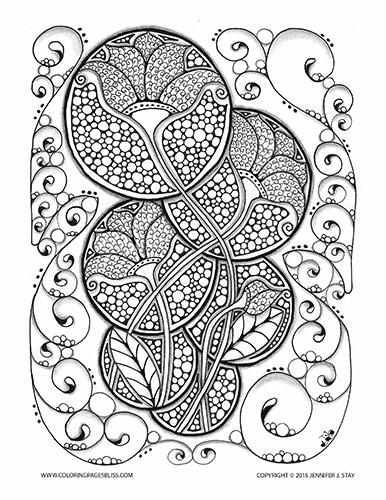 Art Nouveau Flowers Coloring Page