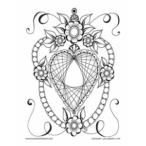 Diamond Heart Valentines Coloring Page
