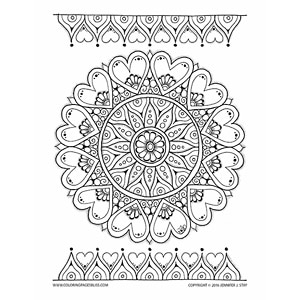 Mandala with Hearts Valentines Coloring Page