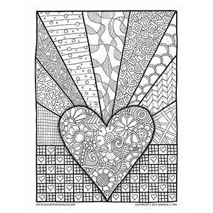 Patchwork Hearts Valentines Coloring Page for Adults