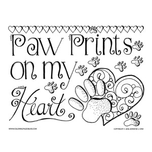 Paw Prints Valentines Coloring Page
