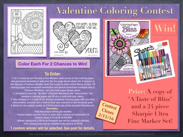 Valentine Coloring Pages Contest