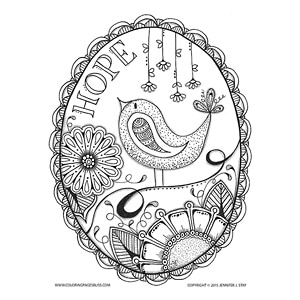 hope bird and flowers free coloring page