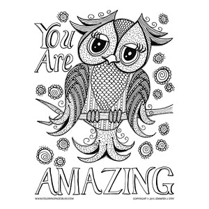 """You Are Amazing"" Free Inspirational Owl Coloring Page"