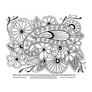 Paisley on Flowers Coloring Page