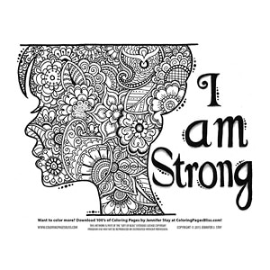 I Am Strong Woman Silhouette Coloring Page
