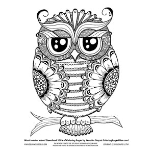 Owl with Flowers Coloring Page
