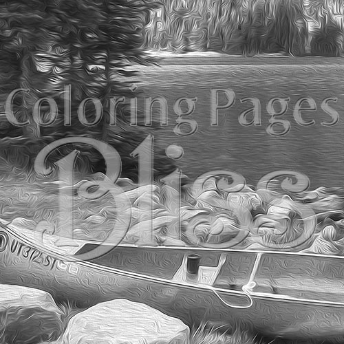 Canoe by Mountain Lake Grayscale Art Closeup