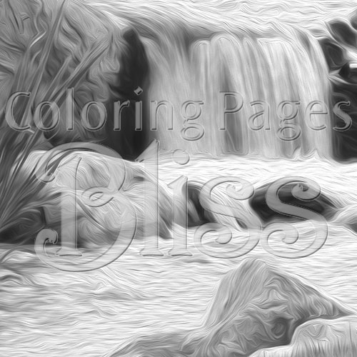 Closeup of Stream and Waterfall Grayscale Art