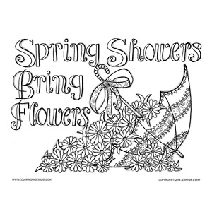 Spring Showers Flowers Coloring Page