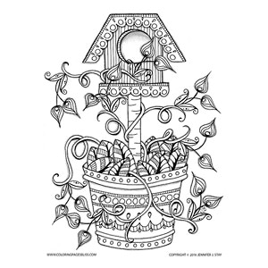 Spring Birdhouse With Flowering Vines Coloring Page
