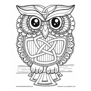 Celtic Owl Coloring Page