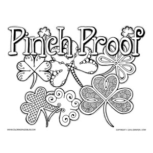 """Pinch Proof"" St. Patrick's Day Coloring Page"