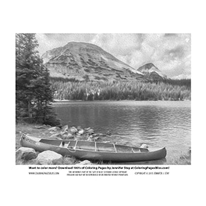 Canoe by Mountain Lake