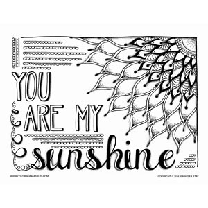 You Are My Sunshine Adult Coloring Page