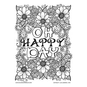 Oh Happy Day Floral Coloring Page