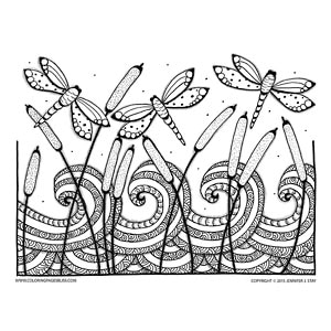 Dragonflies and Cattails Nature Coloring Page
