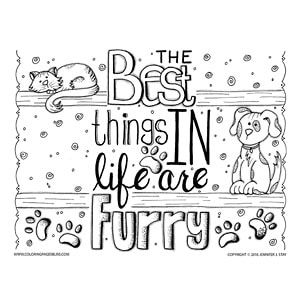 Dog Cat Pet Coloring Page for Grownups