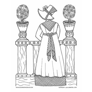 Jane Austen Inspired Coloring Page