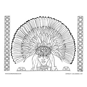 Brazilian Woman in Headdress Coloring Page