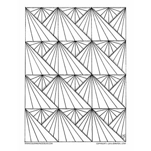 Geometric Sunbursts Coloring Page