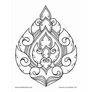 Lai Thai Lotus Coloring Page