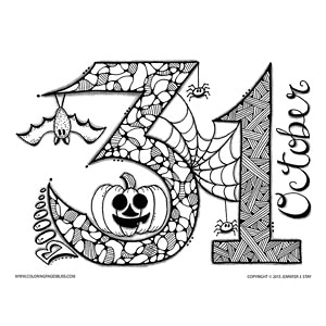 Free October 31 Halloween Coloring Page
