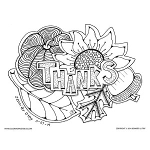 """""""Thanks"""" Autumn Page to Color"""