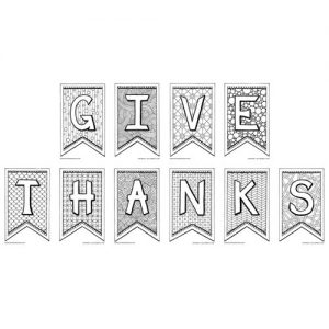 Give Thanks Coloring Page Banner