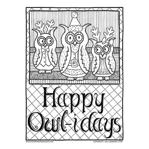 Happy Owl-idays Christmas Owl Coloring Sheet