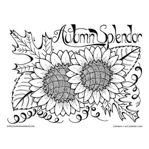 autumn splendor sunflower color sheet - Detailed Sunflower Coloring Pages