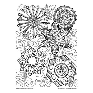 Holiday Snowflakes Color Sheet