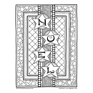 """Noel"" Christmas Coloring Page"
