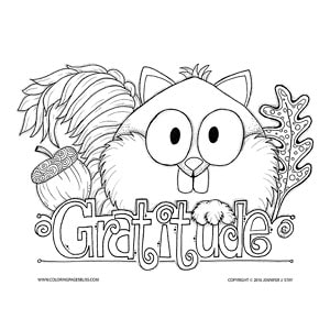 Gratitude Squirrel Coloring Sheet