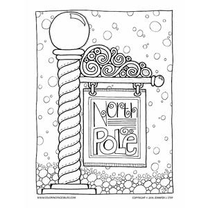North Pole Christmas Coloring Sheet