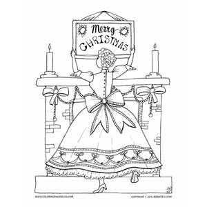 Merry Christmas Girl Coloring Page