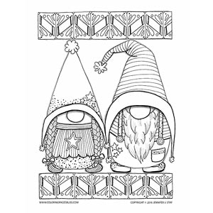 Scandinavian Gnomes Coloring Page