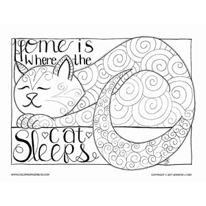 Cat Sleeping Coloring Art