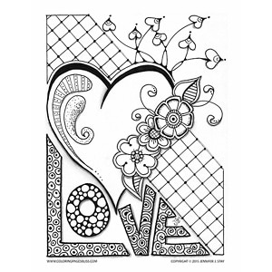 Love Valentine with Heart and Flowers