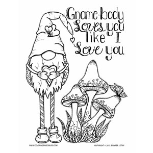Scandinavian Gnome Valentine's Coloring Page