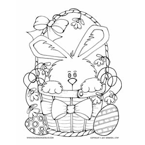 Bunny in Basket Easter Coloring Sheet