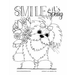 Maltese Dog Spring Coloring Art
