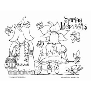 Scandinavian Gnomes Spring Coloring Page