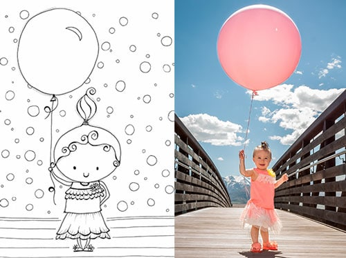 Coloring Page Inspired by a Cute Toddler Holding a Big Birthday Balloon